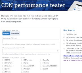 CDN Tester screen